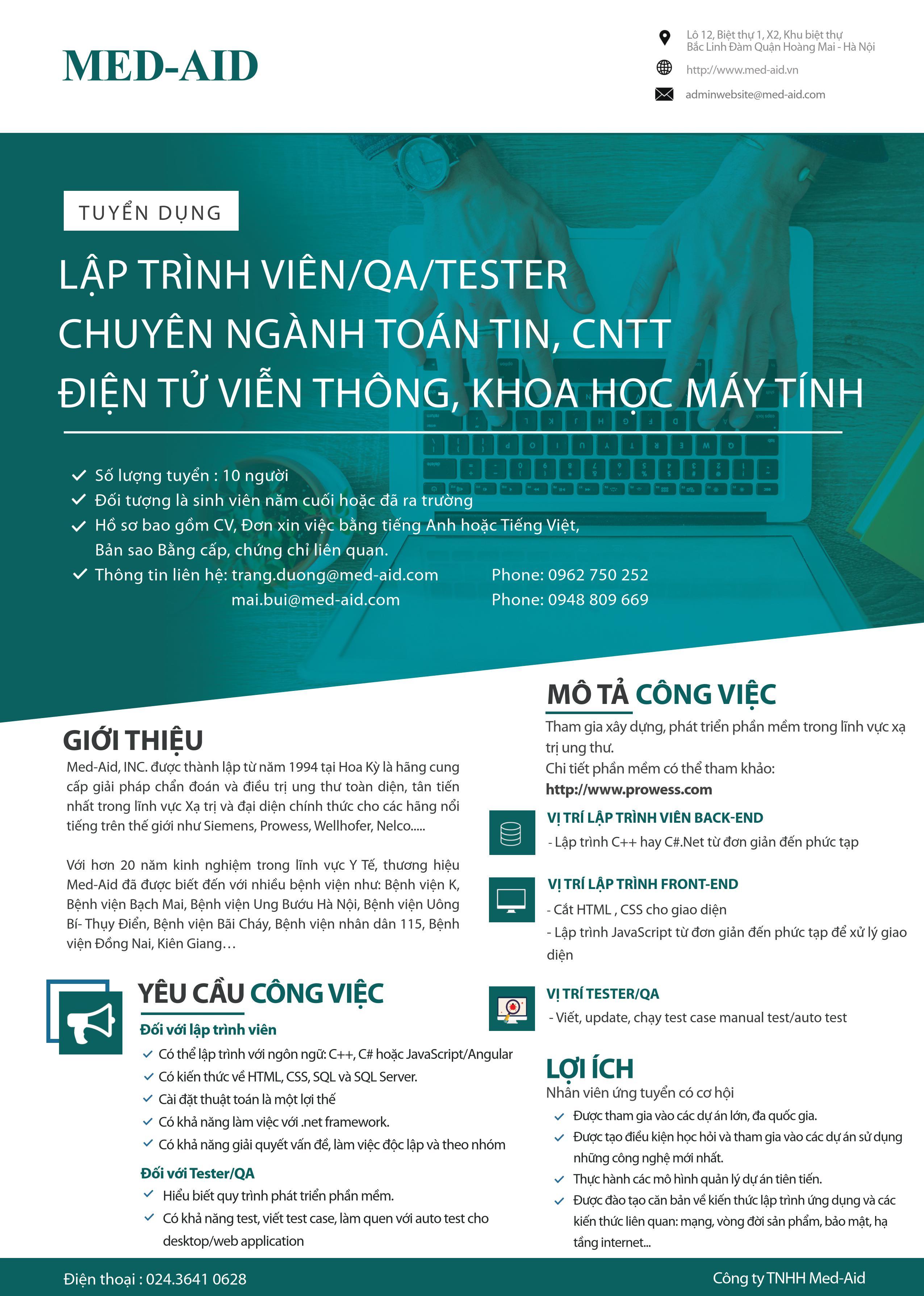 MED-AID Tuyển dụng Lập trình viên QA/TESTER Chuyên ngành CNTT